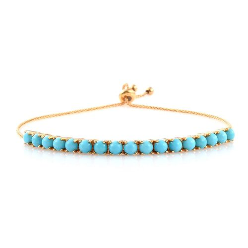 Arizona Sleeping Beauty Turquoise (Rnd) Adjustable Bracelet (Size 6.5 to 10) in 14K Gold Overlay Sterling Silver 4.000 Ct..