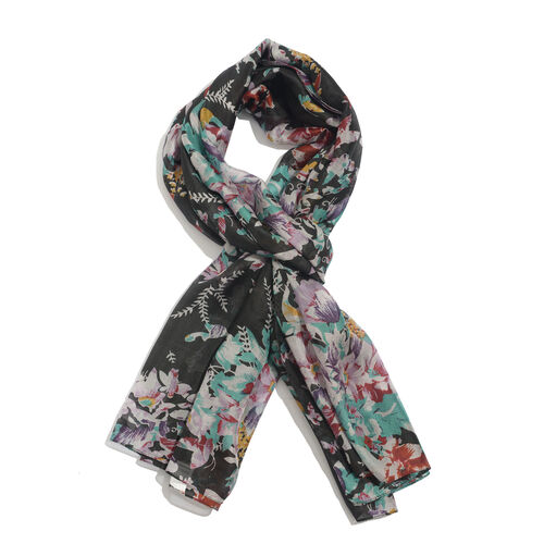 100% Mulberry Silk Floral and Butterfly Pattern Black, Brown and Multi Colour Scarf (Size 180x100 Cm)