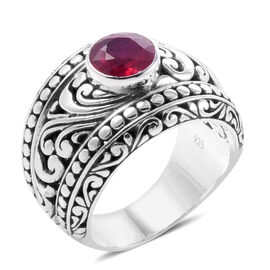 Royal Bali Collection African Ruby (Rnd 8mm) Ring in Sterling Silver Ring 2.610 Ct., Silver wt 12.50 Gms.