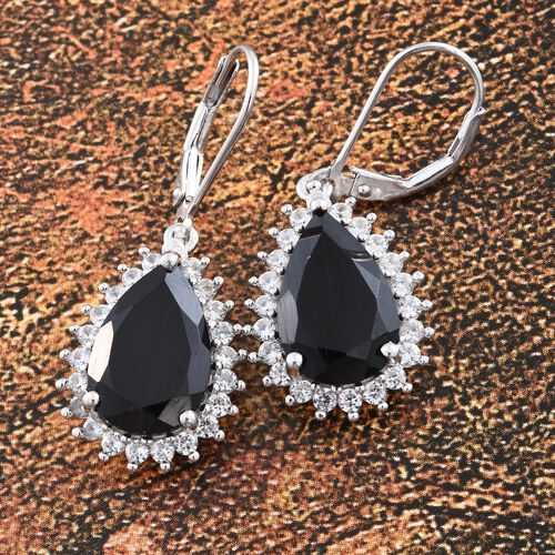 Boi Ploi Black Spinel (Pear), Natural Cambodian Zircon Lever Back Earrings in Platinum Overlay Sterling Silver 11.500 Ct.