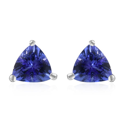 ILIANA 18K White Gold AAA Tanzanite (Trl) Stud Earrings (with Screw Back) 1.250 Ct.