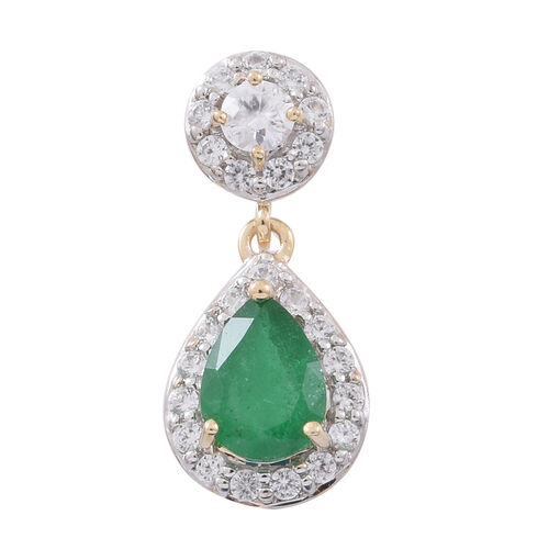 Brand New - Designer Inspired 9K Yellow Gold AAA Kagem Zambian Emerald (Pear), Natural White Cambodian Zircon Pendant 2.000 Ct.
