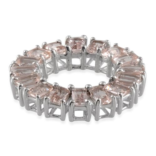Marropino Morganite (Oct) Circle of Life Pendant in Platinum Overlay Sterling Silver 4.250 Ct.