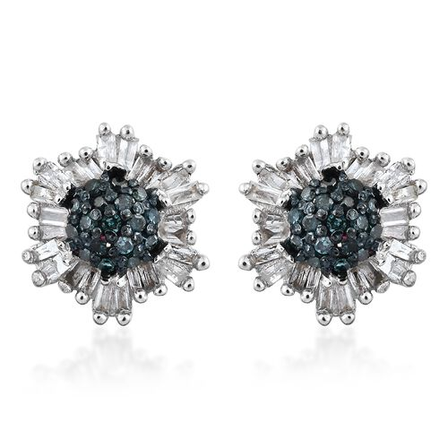 Blue Diamond (Rnd), White Diamond Stud Earrings (with Push Back) in Platinum Overlay Sterling Silver 0.500 Ct.