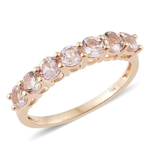 9K Yellow Gold 1 Carat AA Marropino Morganite 7 Stone Ring