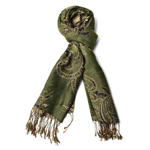 Gold and Multi Colour Bandanna Pattern Green Colour Scarf with Tassels (Size 170x70 Cm)