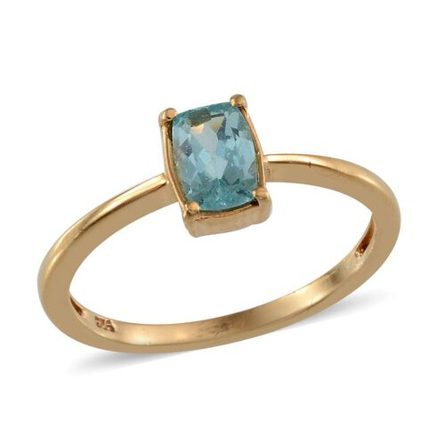 Paraibe Apatite (Cush) Solitaire Ring in 14K Gold Overlay Sterling Silver 0.500 Ct.