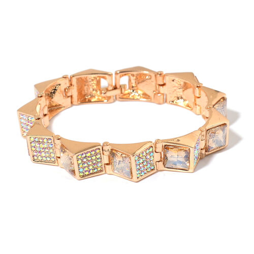 Simulated Champagne Diamond and White Austrian Crystal Bracelet (Size 7) in Gold Tone