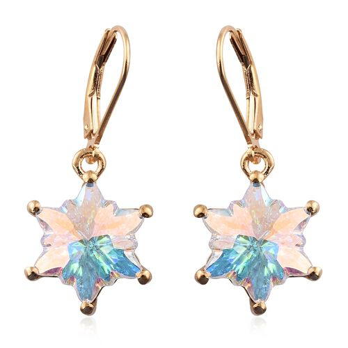 STELLARIS CUT J Francis Crystal from Swarovski - AB Colour Crystal Lever Back Earrings in 14K Gold Overlay Sterling Silver