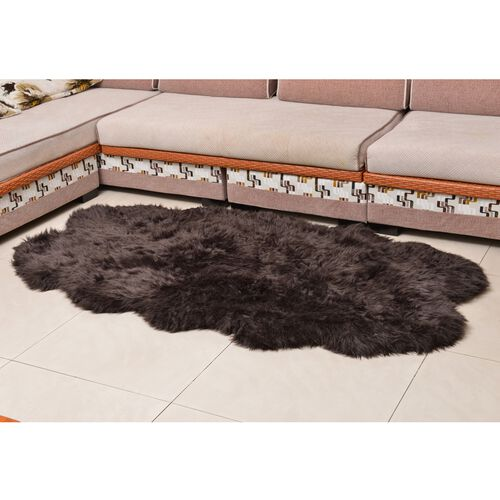 Supersoft Faux Sheep Skin Rug in Chocolate Colour with Extra-Long Pile (Size 180x100 Cm)
