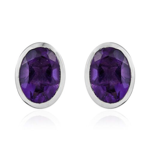 Amethyst 1.50 Ct Silver Bezel Set Stud Earrings in Platinum Overlay