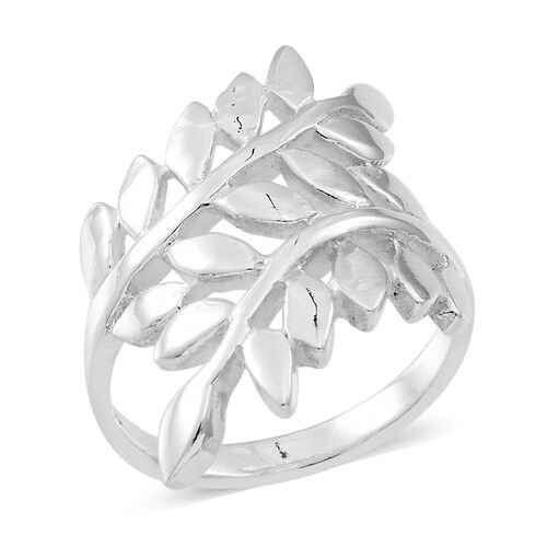 Designer Inspired Sterling Silver Leaves Crossover Ring, Silver wt 5.45 Gms.