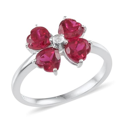 Simulated Ruby (Hrt), White Topaz Floral Ring in Sterling Silver