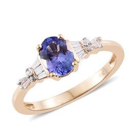 9K Yellow Gold 1.15 Ct AA Tanzanite Ring with Diamond