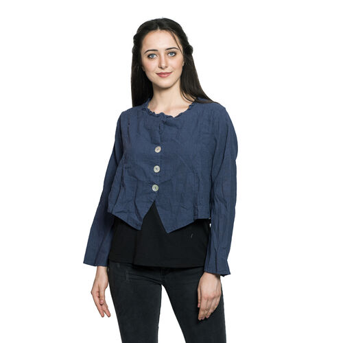100% Cotton Navy Colour Slub Short Jacket (Free Size)