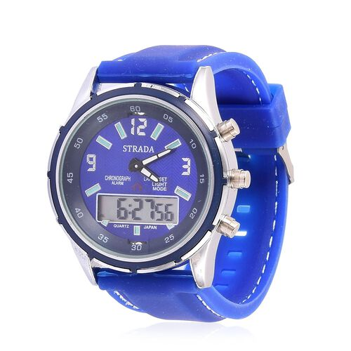 STRADA Analog and Digital Movement Watch in Silver Tone with Blue Colour Silicone Strap