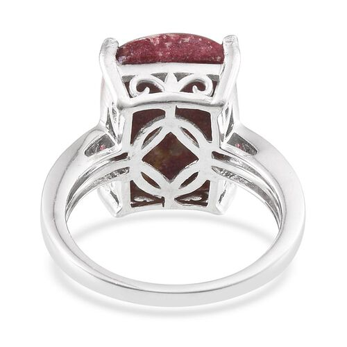 Norwegian Thulite (Cush 13.75 Ct), Rhodolite Garnet Ring in Platinum Overlay Sterling Silver 14.250 Ct.
