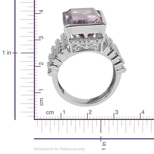 Rare Size Rose De France Amethyst (Bgt), Diamond Ring in Platinum Overlay Sterling Silver 16.270 Ct. Silver Wt 12.75 Gms