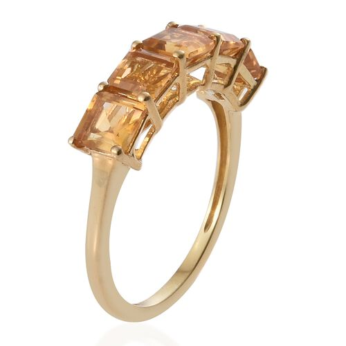 Citrine (Oct) 5 Stone Ring in 14K Gold Overlay Sterling Silver 2.500 Ct.