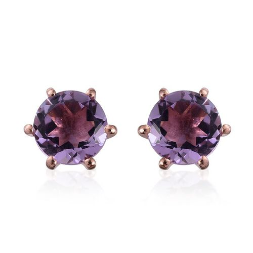Rose De France Amethyst (Rnd) Stud Earrings (with Push Back) in Rose Gold Overlay Sterling Silver 2.250 Ct.