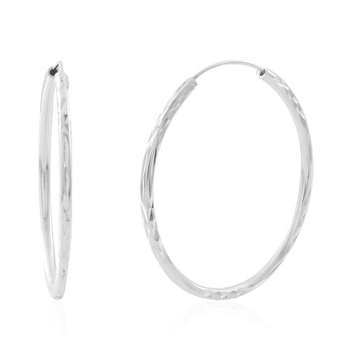 Sterling Silver Hoop Earrings, Silver wt. 3.75 Gms.