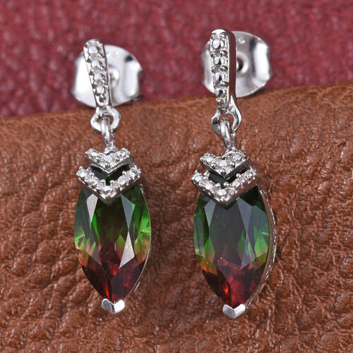 Bi-Color Tourmaline Quartz (Mrq) Earrings (with Push Back) in Platinum Overlay Sterling Silver 3.000 Ct.