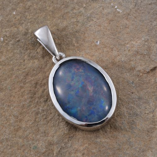 Australian Boulder Opal (Ovl 16x12mm) Solitaire Pendant in Platinum Overlay Sterling Silver 5.000 Ct.