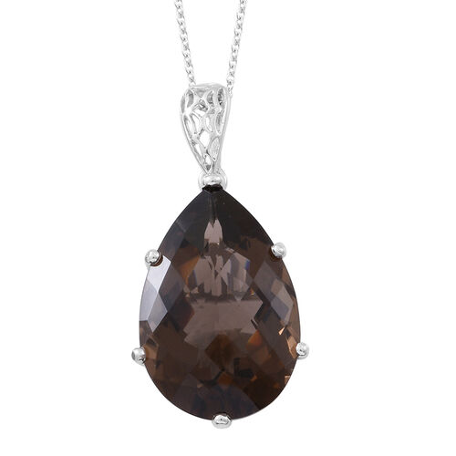 Brazilian Smoky Quartz (Pear) Pendant With Chain (Size 30) in Rhodium Plated Sterling Silver 38.000 Ct.