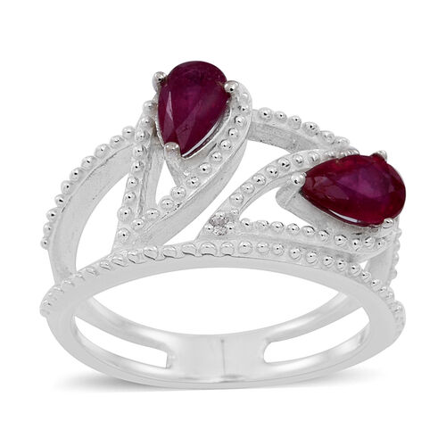 African Ruby (Pear), White Topaz Ring in Sterling Silver 1.250 Ct.