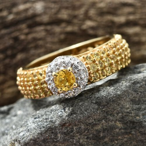 Chanthaburi Yellow Sapphire (Rnd), Natural Cambodian Zircon Ring in 14K Gold and Platinum Overlay Sterling Silver 3.500 Ct. Number of Gemstone 128.