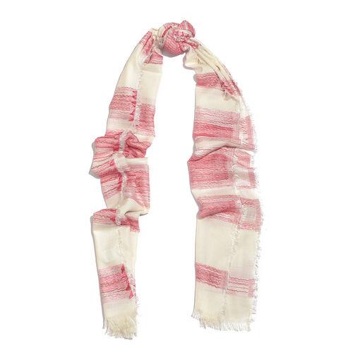 Blended Cotton Pink Colour Lava Stripe Pattern White Colour Jacquard Scarf (Size 180x70 Cm)