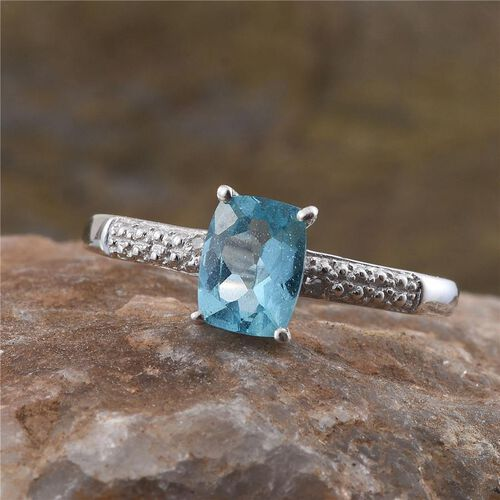 Paraibe Apatite (Cush 1.50 Ct), Diamond Ring in Platinum Overlay Sterling Silver 1.510 Ct.