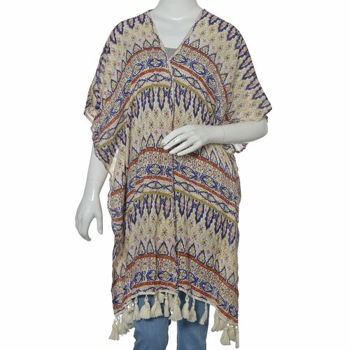 Geometrical Print Blue, Cream and Multi Colour Kimono with Tassels (Size 95x88 Cm)