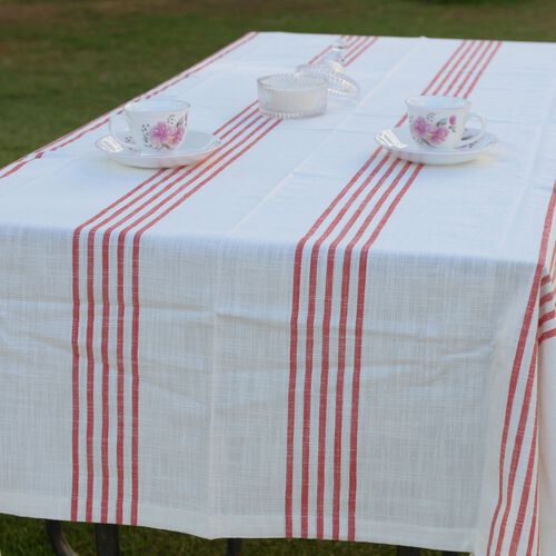 100% Cotton Rust Red Colour Stripe Pattern White Colour Table Cover (Size 235x150 Cm)