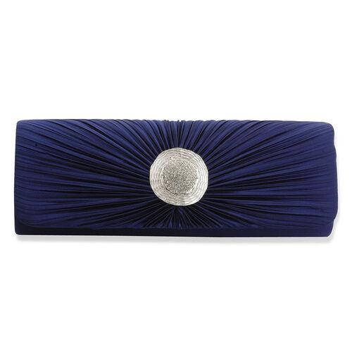 J Francis Luxurious Navy Blue Satin Clutch Bag With White Austrian Crystal