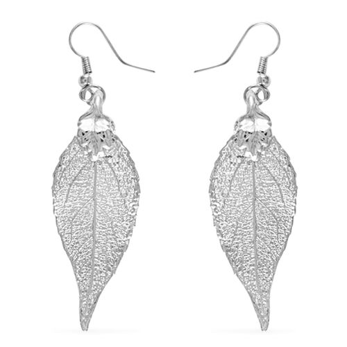 Real Evergreen Leaf Hook Earrings Dipped in Silver