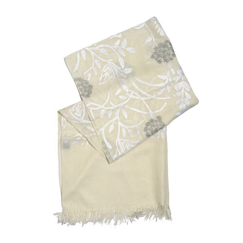 Limited Edition- Designer Inspired 100% Merino Wool White and Grey Colour Floral and Leaves Embroidered Scarf (Size 170X70 Cm)