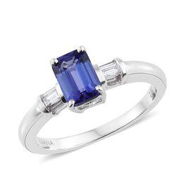ILIANA 18K White Gold AAA Tanzanite (Oct 1.20 Ct), Diamond (SI/G-H) Ring 1.400 Ct.