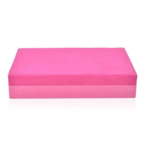 Handcrafted Pink Colour Velvet Jewellery Box (Size 27X18X5.5 Cm)