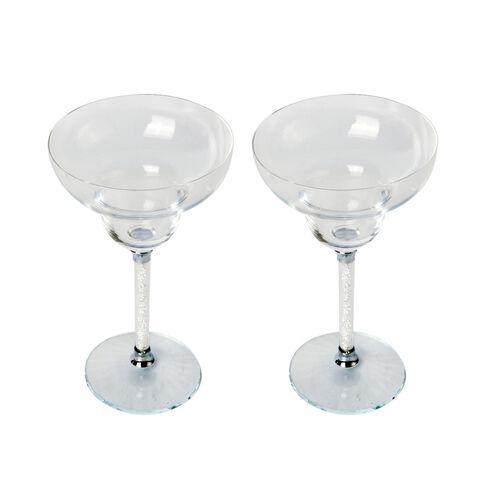 Set of 2 - White Crystal Filled Margarita Glass (Size 18.5X8 Cm)