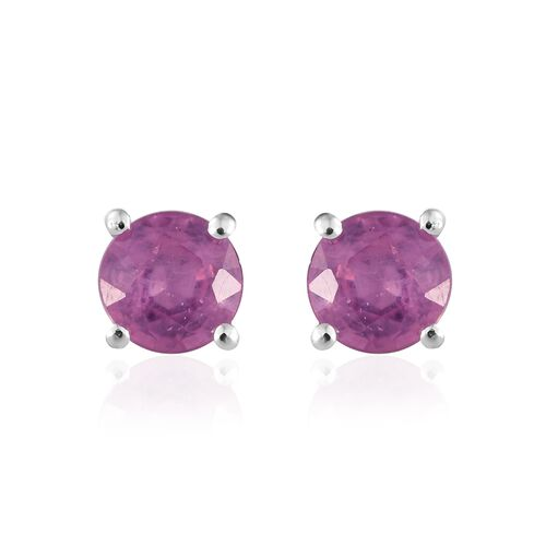 One Time Deal-Hot Pink Sapphire (Rnd) Stud Earrings (with Push Back) in Sterling Silver 1.500 Ct.