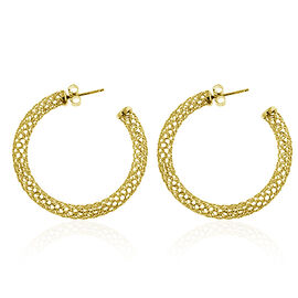 Yellow Gold Overlay Sterling Silver Earrings (with Push Back), Silver wt 4.00 Gms.