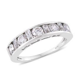 J Francis - Platinum Overlay Sterling Silver (Rnd and Bgt) Ring Made with SWAROVSKI ZIRCONIA