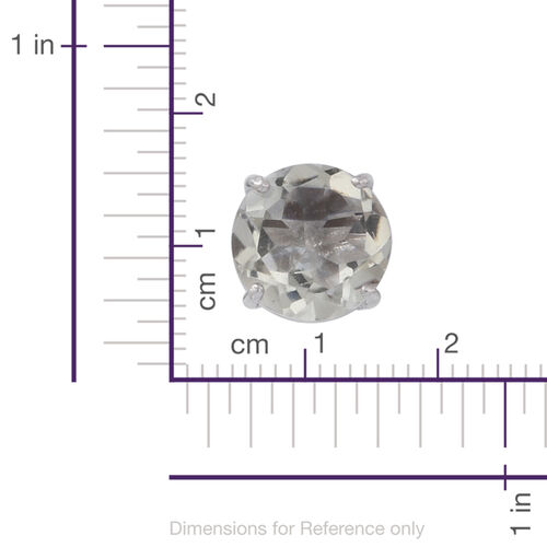Green Amethyst (Rnd) Stud Earrings (with Push Back) in Rhodium Plated Sterling Silver 5.000 Ct.