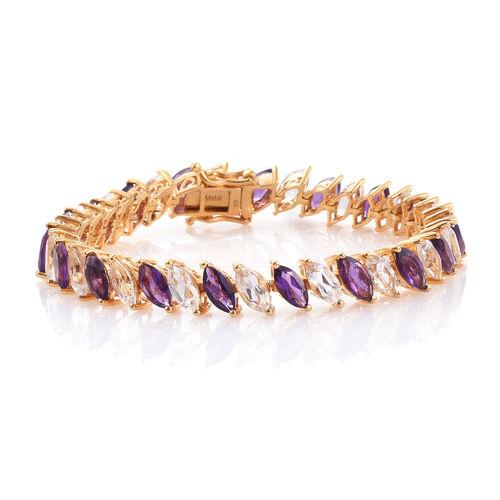 Amethyst (Mrq), White Topaz Tennis Bracelet (Size 7.25) in 14K Gold Overlay Sterling Silver 21.750 Ct. Silver wt 16.50 Gms.