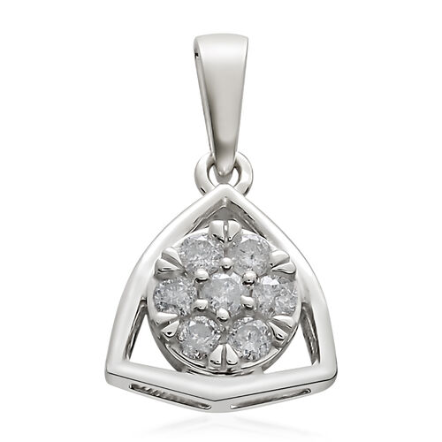 9K White Gold 0.33 Ct Diamond Floral Pendant SGL Certified (I3/G-H)