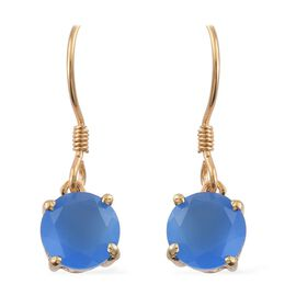 Namibian Blue Chalcedony 1.75 Ct Silver Hook Earrings in Gold Overlay