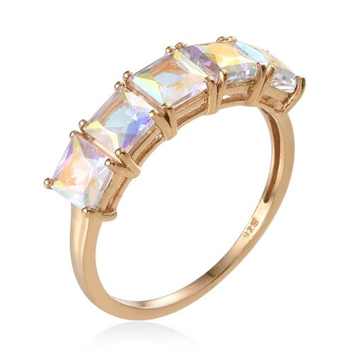 Mercury Mystic Topaz (Sqr) 5 Stone Ring in 14K Gold Overlay Sterling Silver 3.900 Ct.