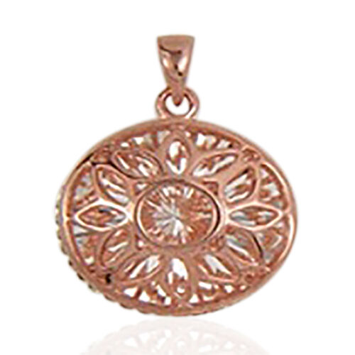 Designer Inspired-Rose Gold Overlay Sterling Silver Floral Pendant