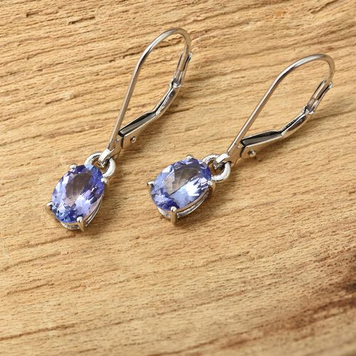 9K White Gold 1.25 Ct AA Tanzanite Lever Back Earrings